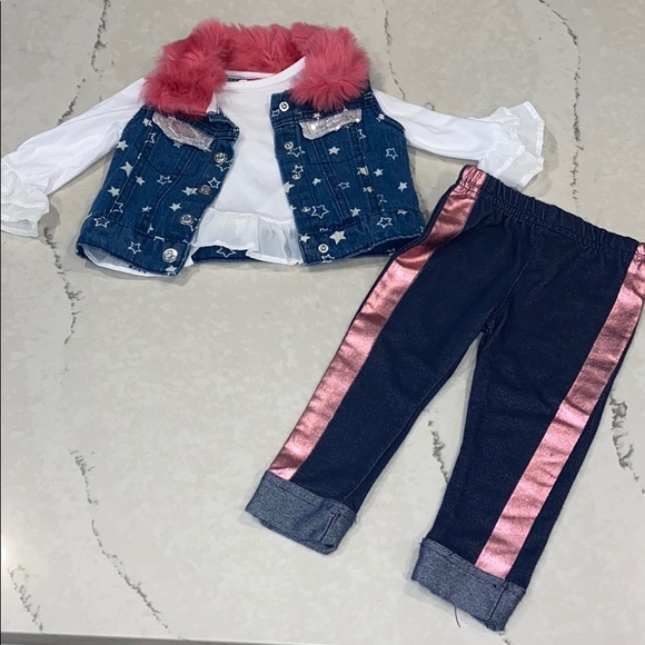 3 piece jean vest set faux fur stars leggings top